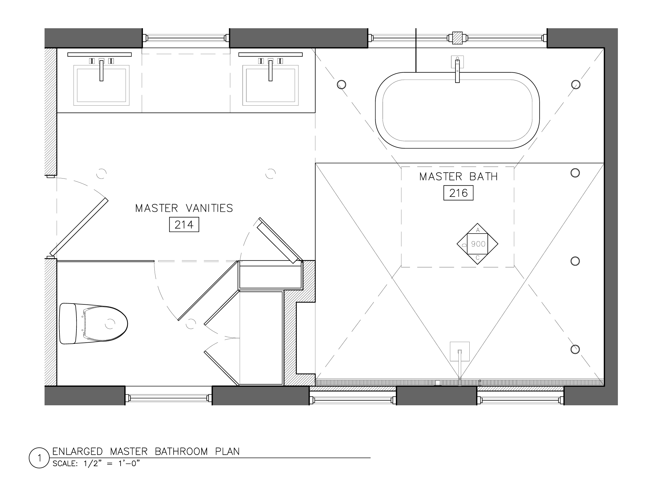 White master bath best layout room for Blueprint drawing program